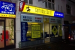 Illuminated sign box and window graphics